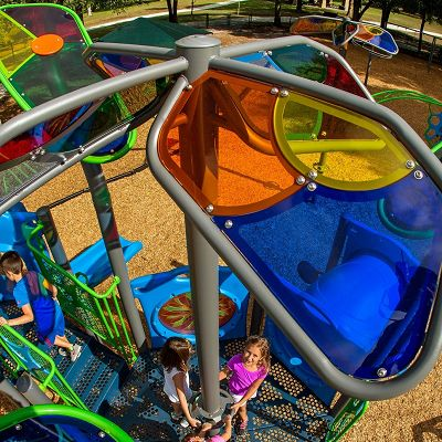 Outdoor playground equipment by PowerScape offers a wide range of customization, from ShadowPlay to recycled Timbers.
