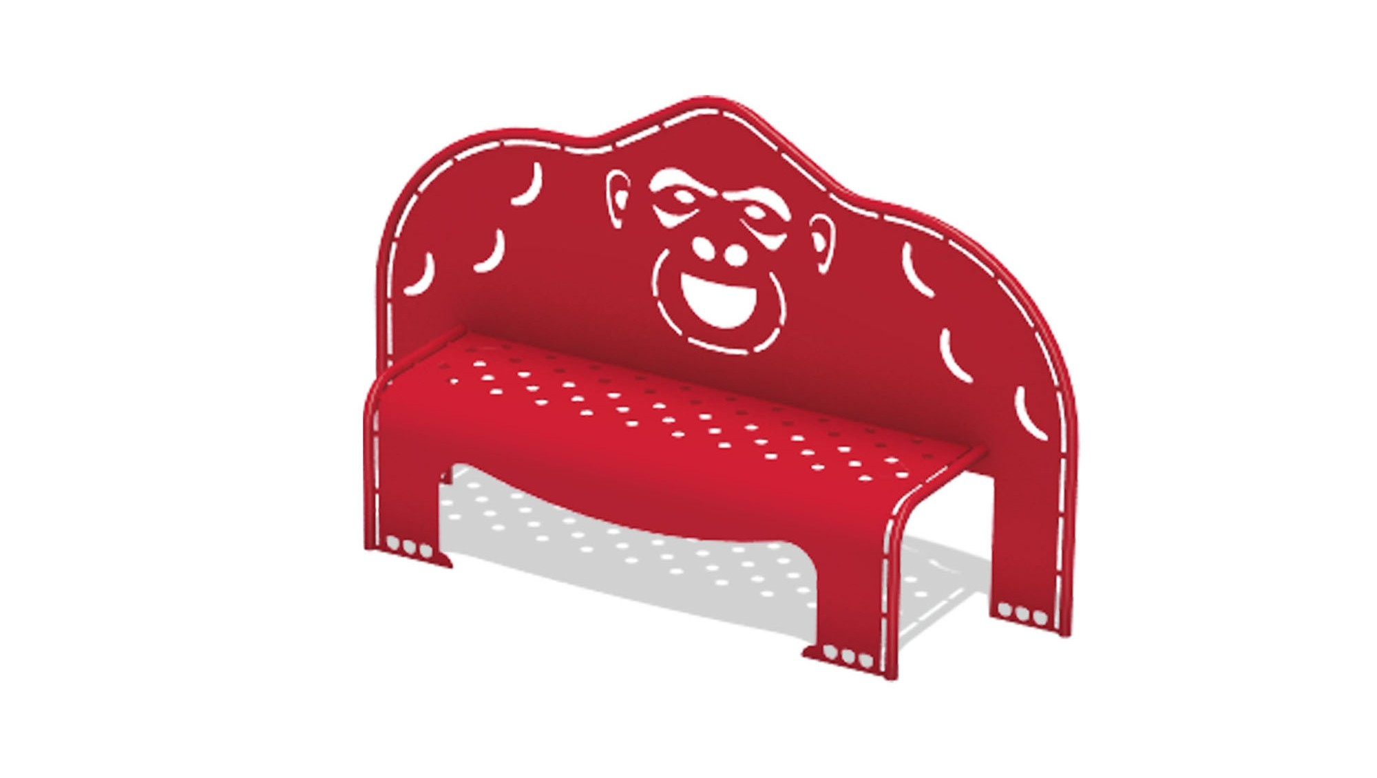 4' Gorilla Bench w/Perforated Seat - Surface Mount
